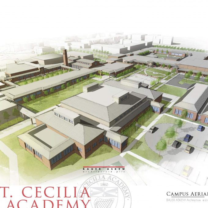 master plan, st. cecilia academy, school, nashville, tennessee, architecture, design, watercolor