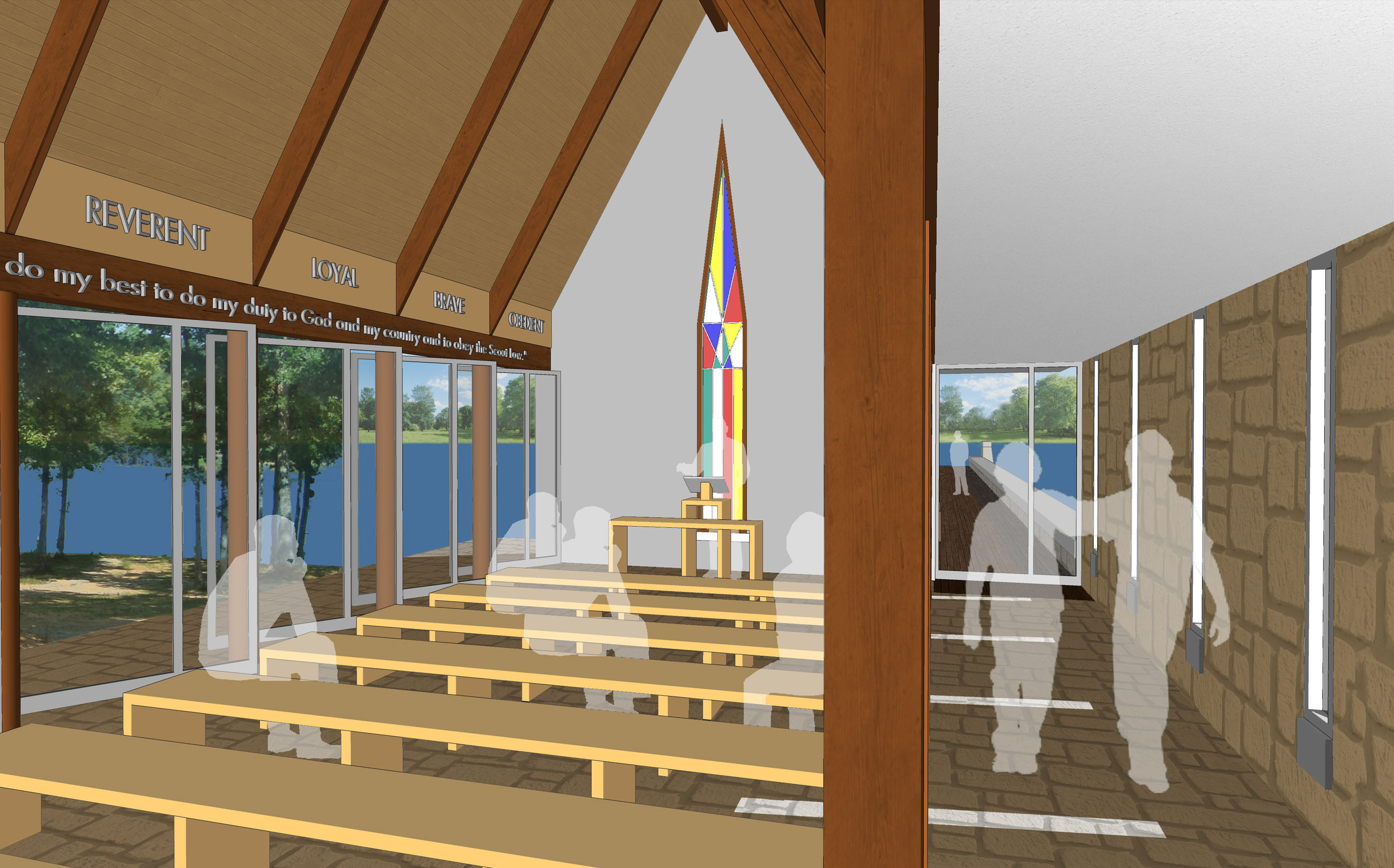 Latimer High Adventure Reservation Chapel, Boy Scouts, Spencer, Tennessee, architecture, design, unbuilt, rendering, model