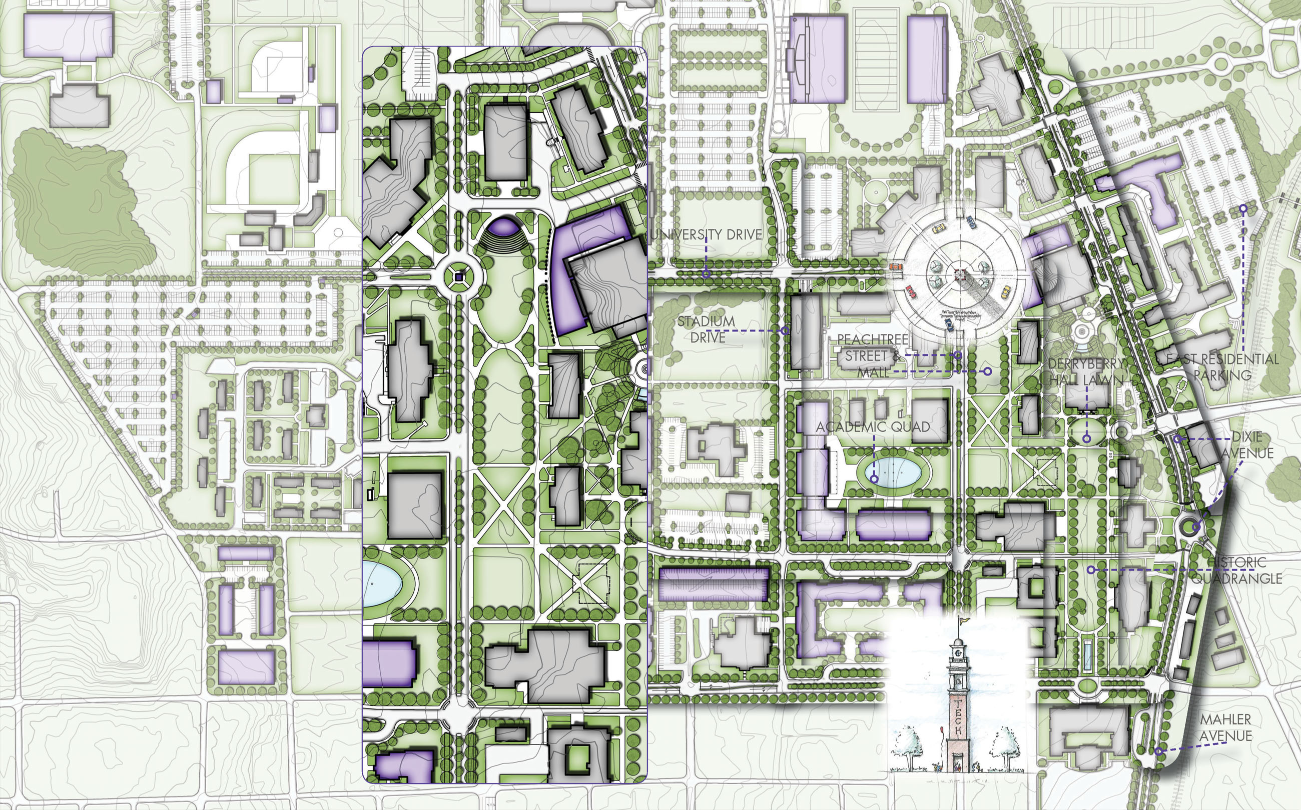 Tennessee Technological University Master Plan, TTU, Cookeville, Tennessee, TN, architecture, design, plan,
